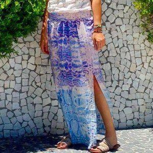 Anthropologie Maeve Silk Waimea Side Split Skirt